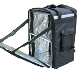 PK-86Z: Ultimate insulated food delivery bag with drink carrier, side loading with zipper, 16